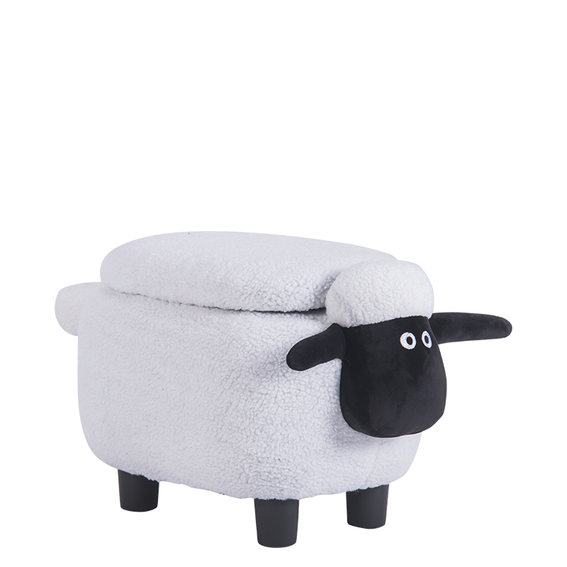 детска табуретка с ракла-бяла овца