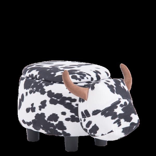 детска табуретка с ракла-черно-бяла крава