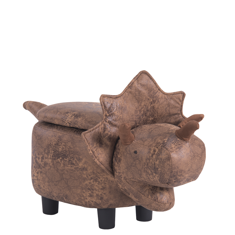 детска табуретка с ракла-кафяв динозавър