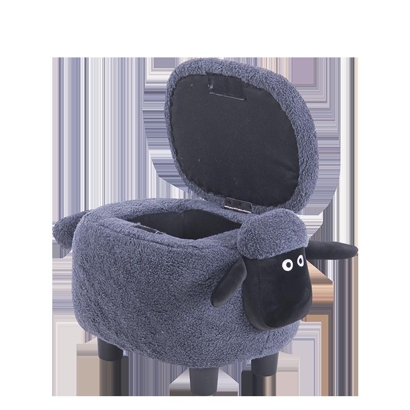 детска табуретка с ракла-сива овца